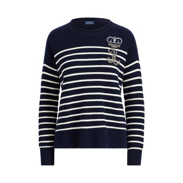 Ralph Lauren Bullion Striped Wool Sweater Navy/Cream Xs