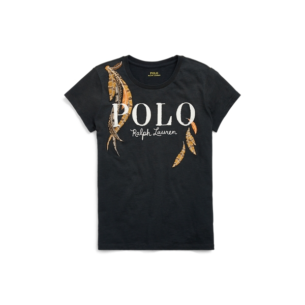 Ralph Lauren Feather Polo Jersey T-Shirt Black Xs