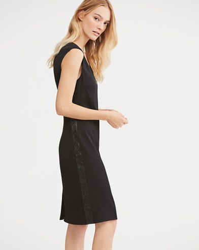 Leather-Trim Cap-Sleeve Dress