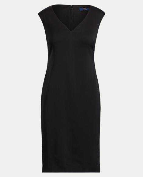 Leather-Trim Cap-Sleeve Dress