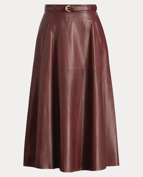Carlotta Leather A-Line Skirt