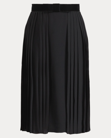 Chantel Pleated Silk Skirt