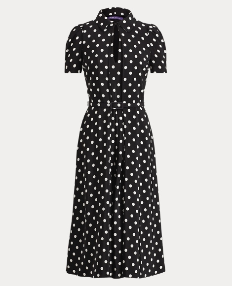 Marielle Polka-Dot Silk Dress