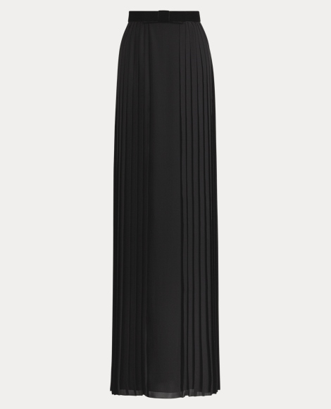 Chantel Pleated Silk Maxiskirt