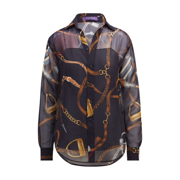 Ralph Lauren Cameron Equestrian Silk Shirt Navy Multi 2