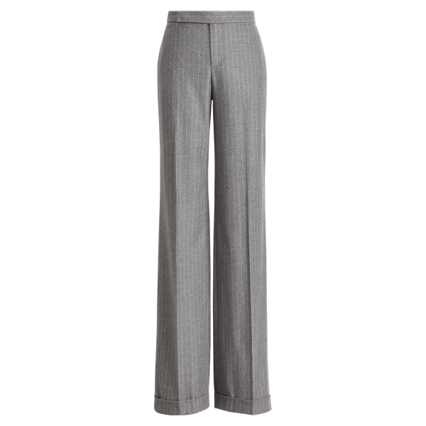 Ralph Lauren Alexa Wool Wide-Leg Pant Medium Grey Melange 2