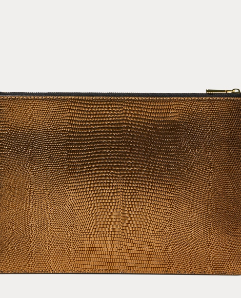 Lizard-Embossed Leather Pouch