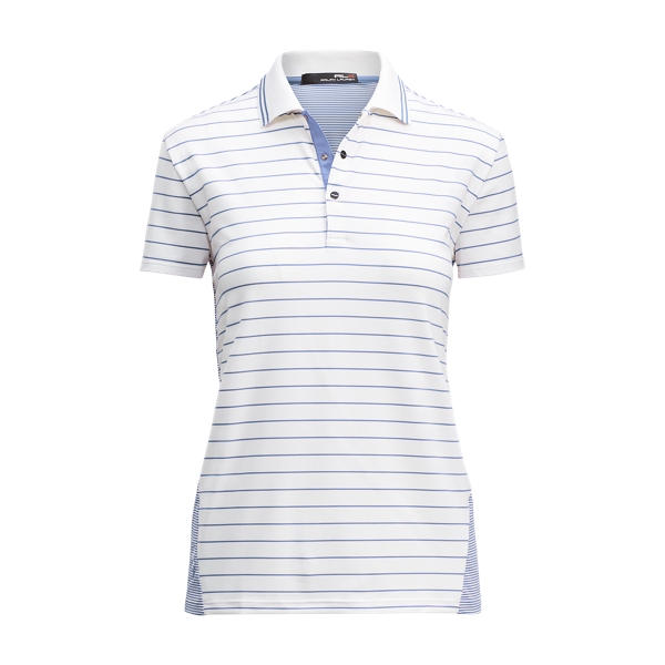 Ralph Lauren Classic Striped Polo Shirt Pure White/Tyler Blue Xs