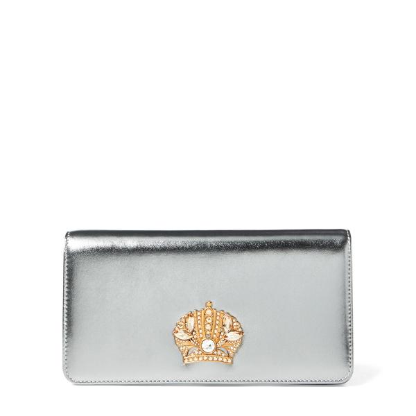 Ralph Lauren Metallic Leather Clutch Silver Metallic One Size