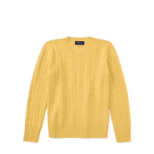Ralph Lauren Cable-Knit Cashmere Sweater Fall Yellow S