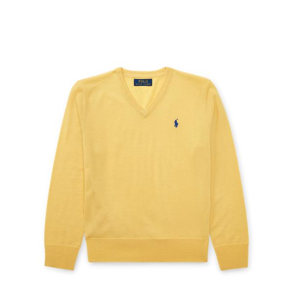 Ralph Lauren Merino Wool V-Neck Sweater Fall Yellow S