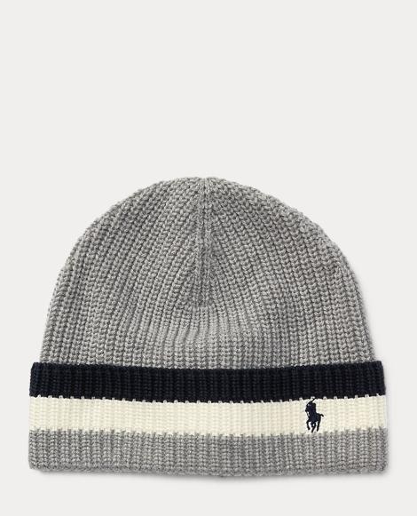 Striped-Brim Ribbed Cotton Hat