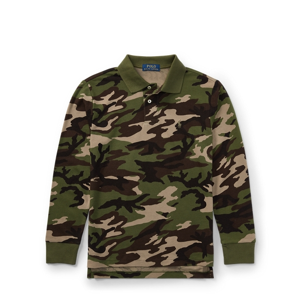 Ralph Lauren Camo Cotton Mesh Polo Shirt Camo M