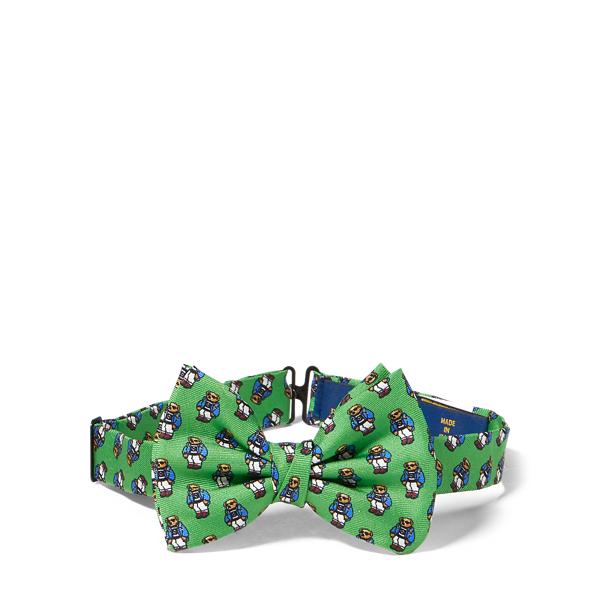 Ralph Lauren Polo Bear Silk Bow Tie Green/Royal One Size