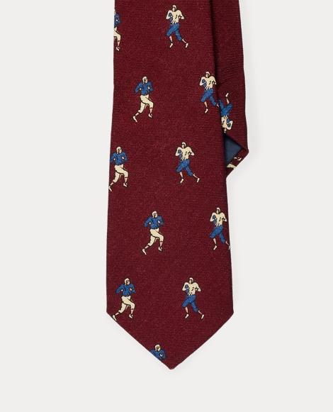 Football Player-Print Silk Tie