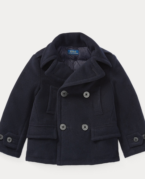Wool-Blend Down Peacoat