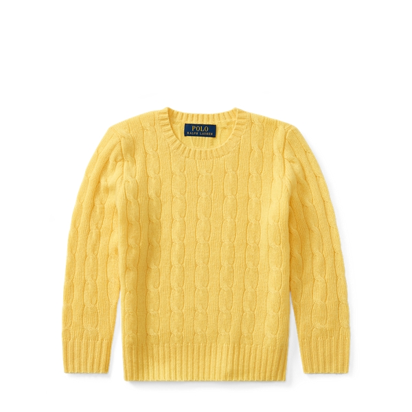 Ralph Lauren Cable-Knit Cashmere Sweater Fall Yellow 6-7