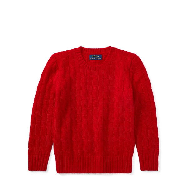 Ralph Lauren Cable-Knit Cashmere Sweater Country Red 2T/3T