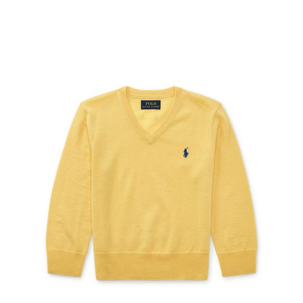 Ralph Lauren Merino Wool V-Neck Sweater Fall Yellow 2T