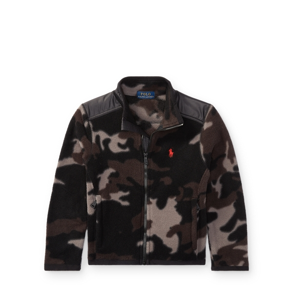 Ralph Lauren Camo Fleece Hybrid Jacket Black Camo 2T