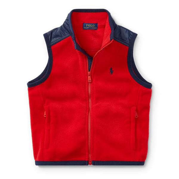 Ralph Lauren Fleece Hybrid Vest Old Glory Red 2T