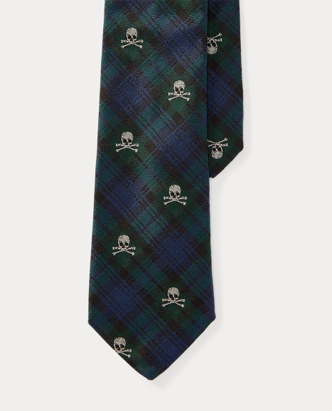 Skull Tartan Silk Tie
