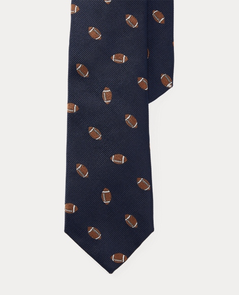Football Player-Print Silk Tie