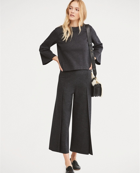 Cropped Wool Wide-Leg Pant