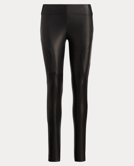 Leather-Front Stretch Legging