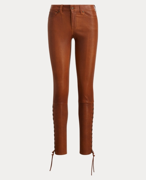 Lace-Up Stretch Leather Pant