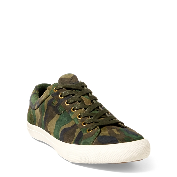 Ralph Lauren Geffrey Camo Suede Sneaker Olive Camo 10
