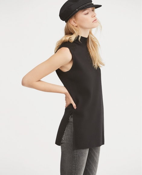 Suede-Trim Sleeveless Sweater