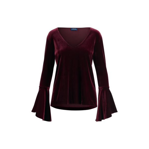 Ralph Lauren Velvet Bell-Sleeve Blouse Wine Xs