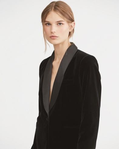 Silk-Trim Velvet Blazer