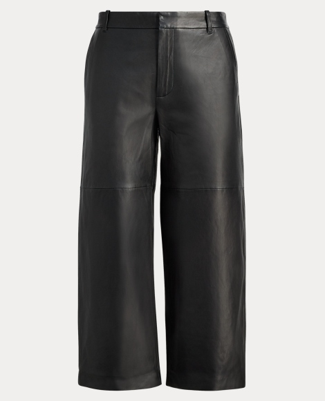 Cropped Leather Wide-Leg Pant