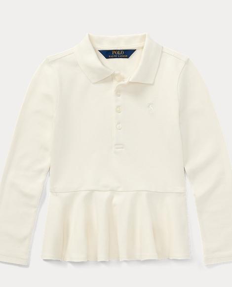 Long-Sleeve Peplum Polo Shirt