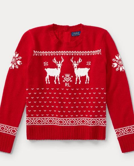 Reindeer Button-Back Sweater