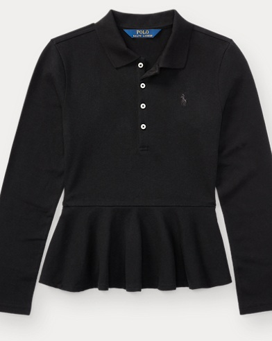 Long-Sleeve Peplum Polo Shirt