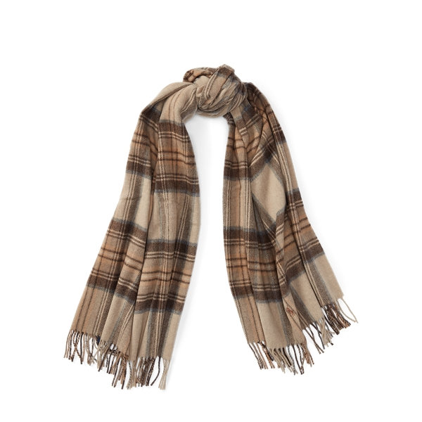 Ralph Lauren Oversize Blanket Plaid Scarf Camel Check One Size
