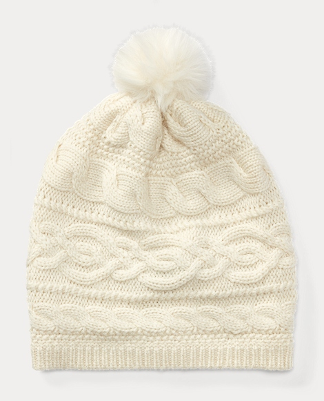 Cable-Knit Pom-Pom Hat