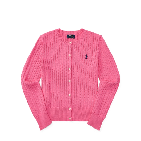 Ralph Lauren Cable-Knit Cotton Cardigan Baja Pink S