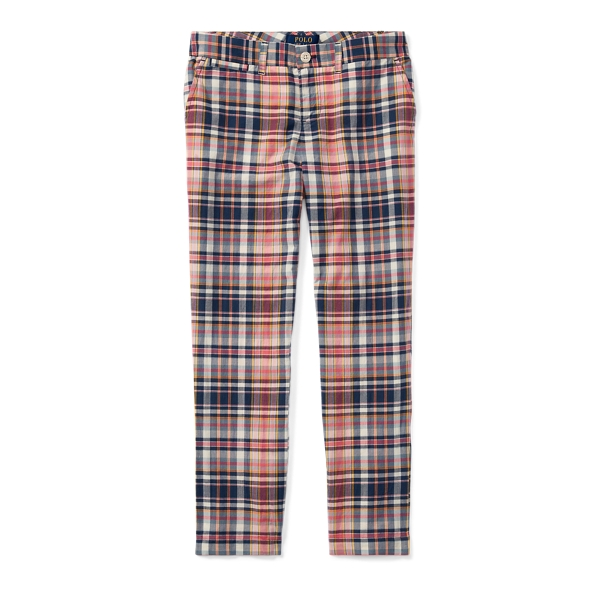 Ralph Lauren Plaid Cotton Madras Pant Pink/Navy Multi 10
