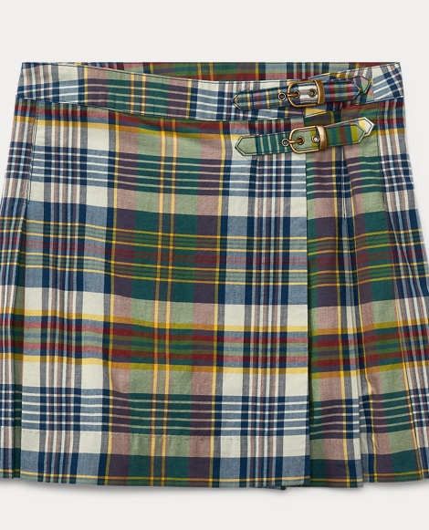 Pleated Madras Skirt
