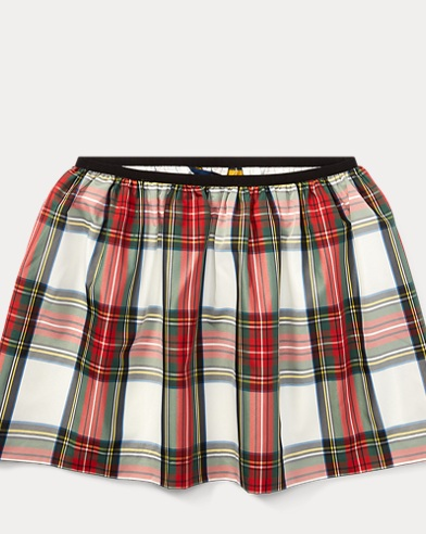 Tartan Taffeta Pull-On Skirt