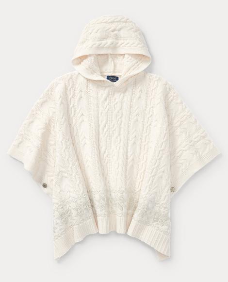Aran-Knit Hooded Poncho