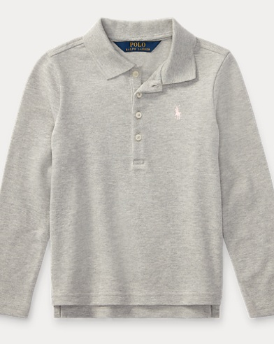 Stretch Mesh Long-Sleeve Polo