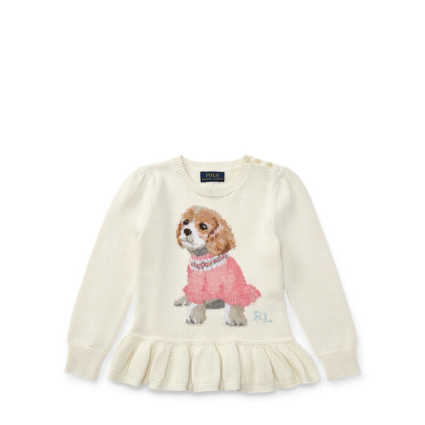 Ralph Lauren Puppy Cotton Peplum Sweater Warm White 5