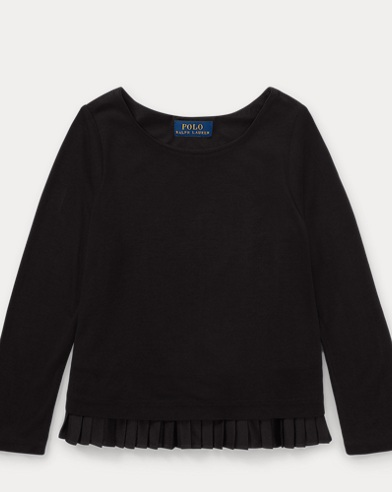 Pleated-Hem Jersey Top