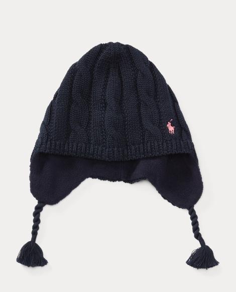Cable-Knit Cotton Earflap Hat
