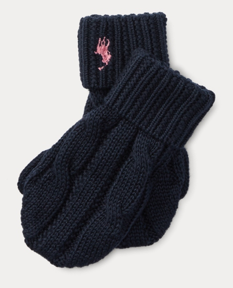 Cable-Knit Cotton Mittens